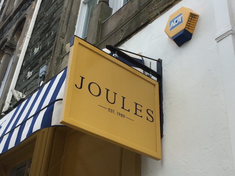 joules board signage lake district
